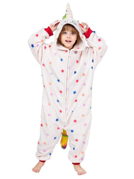 Milanoo Onesie Pajamas Kigurumi Unicorn White Kid\'s Flannel Easy Toilet Winter Sleepwear Mascot Animal Halloween Costume