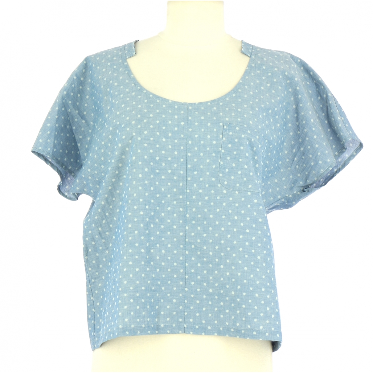 Non Signé / Unsigned \N Blue Cotton  top for Women 38 FR
