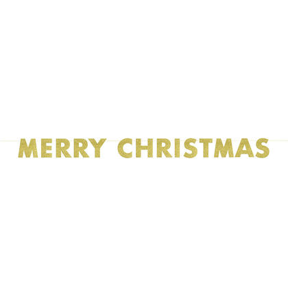 9ft Gold Glitter Merry Christmas Banner