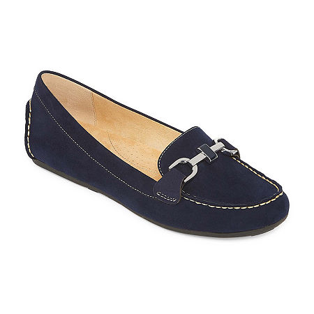 Liz Claiborne Womens Ashton Loafers, 7 1/2 Medium, Blue