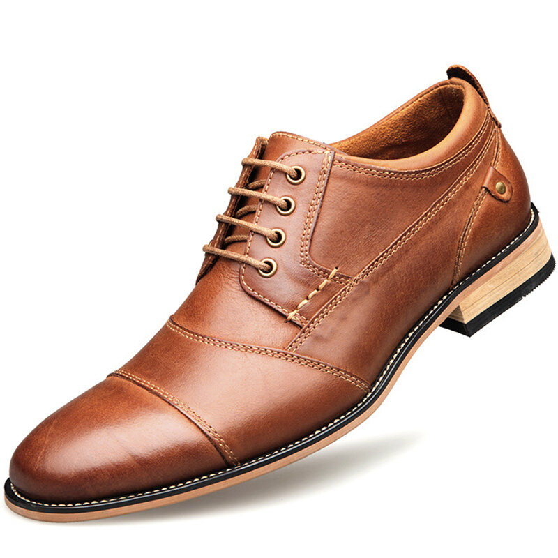 Men Stylish Cap Toe Stitching Non Slip Lace Up Casual Formal Shoes