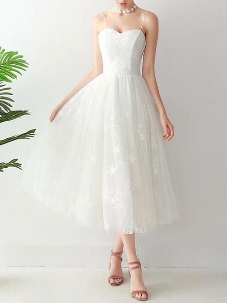 Milanoo Short Wedding Dress2020 A Line Sweetheart Neck Sleeveless Tea Length Natural Waist Tulle Bridal Dresses