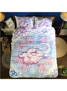 Boho Style Elephant Printed Polyester 3-Piece 3D Bedding Sets/ Duvet Covers