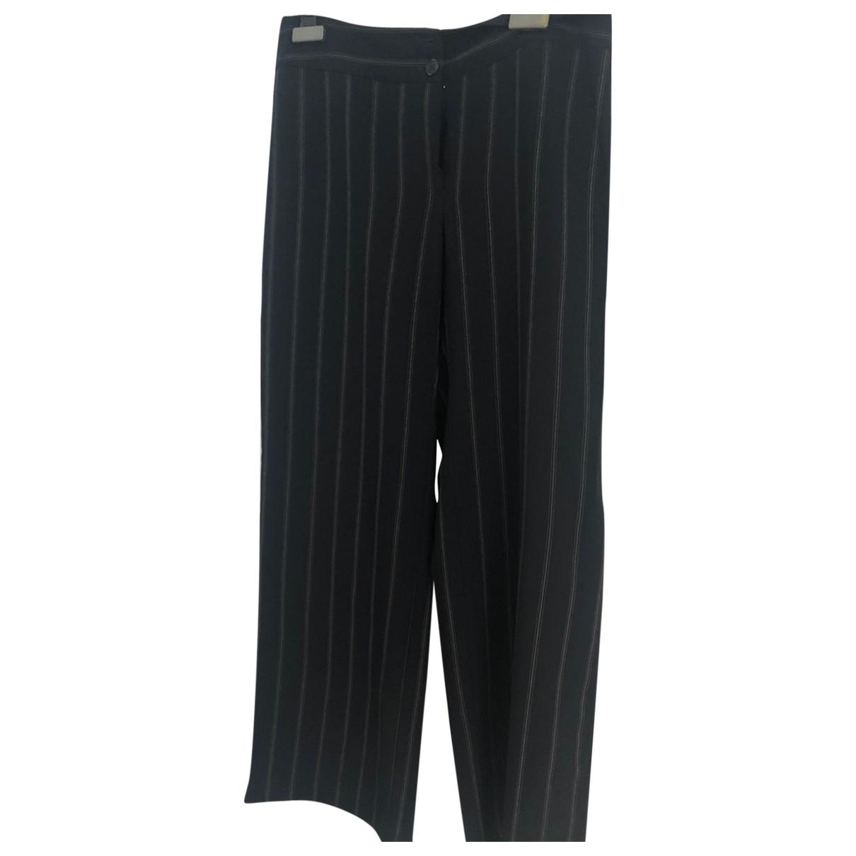 Armani Collezioni \N Blue Wool Trousers for Women 42 IT