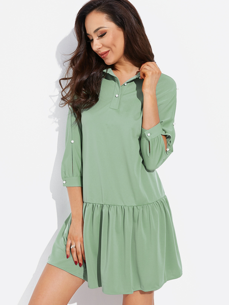 Yoins Green Pearl Button Design 3/4 Length Sleeves Ruffle Hem Dress