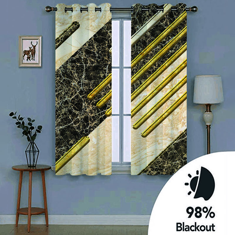 3D Modern Creative Color Block Printed Blackout Decoration 2 Panels Curtain Drapes for Living Room No Pilling No Fading No off-lining