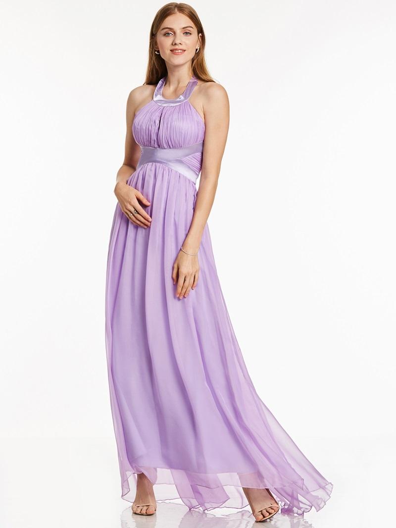 Ericdress A Line Halter Neck Draped Chiffon Evening Dress
