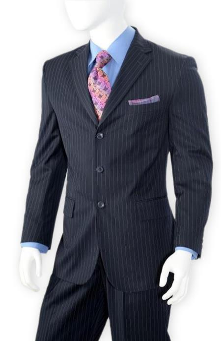 Navy Blue Pinstripe ~ 3 Buttons Stripe Wool Suit Pleated Pants