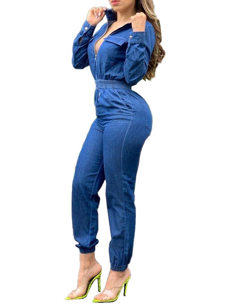 Ericdress Zipper Casual Full Length Mid Waist Jumpsuit