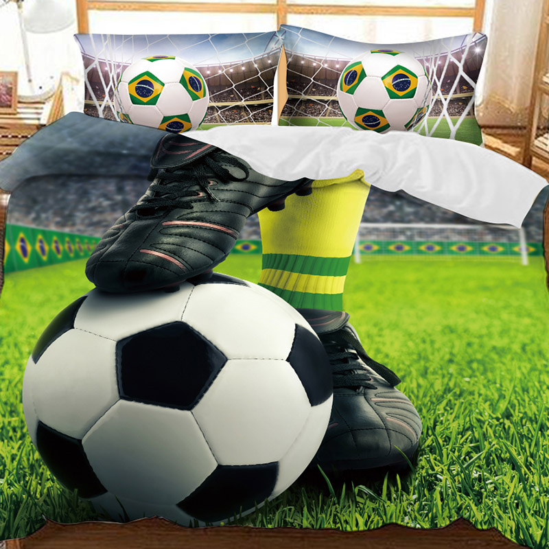 The Soccer Under The Feet Of A Soccer Player Printed Polyester 3-Piece Bedding Sets/Duvet Covers