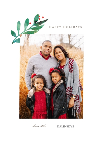 Holiday Photo Cards 5x7 Cards, Premium Cardstock 120lb with Rounded Corners, Card & Stationery -Holly Branch