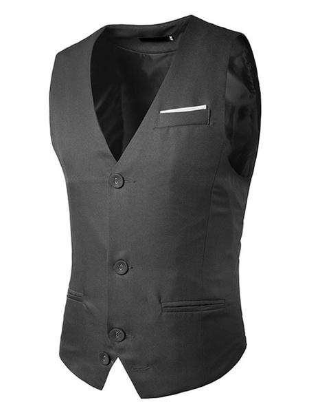 Milanoo Men Jacket Vest Dark Navy Single Breasted 3 Button Shaping Waistcoat