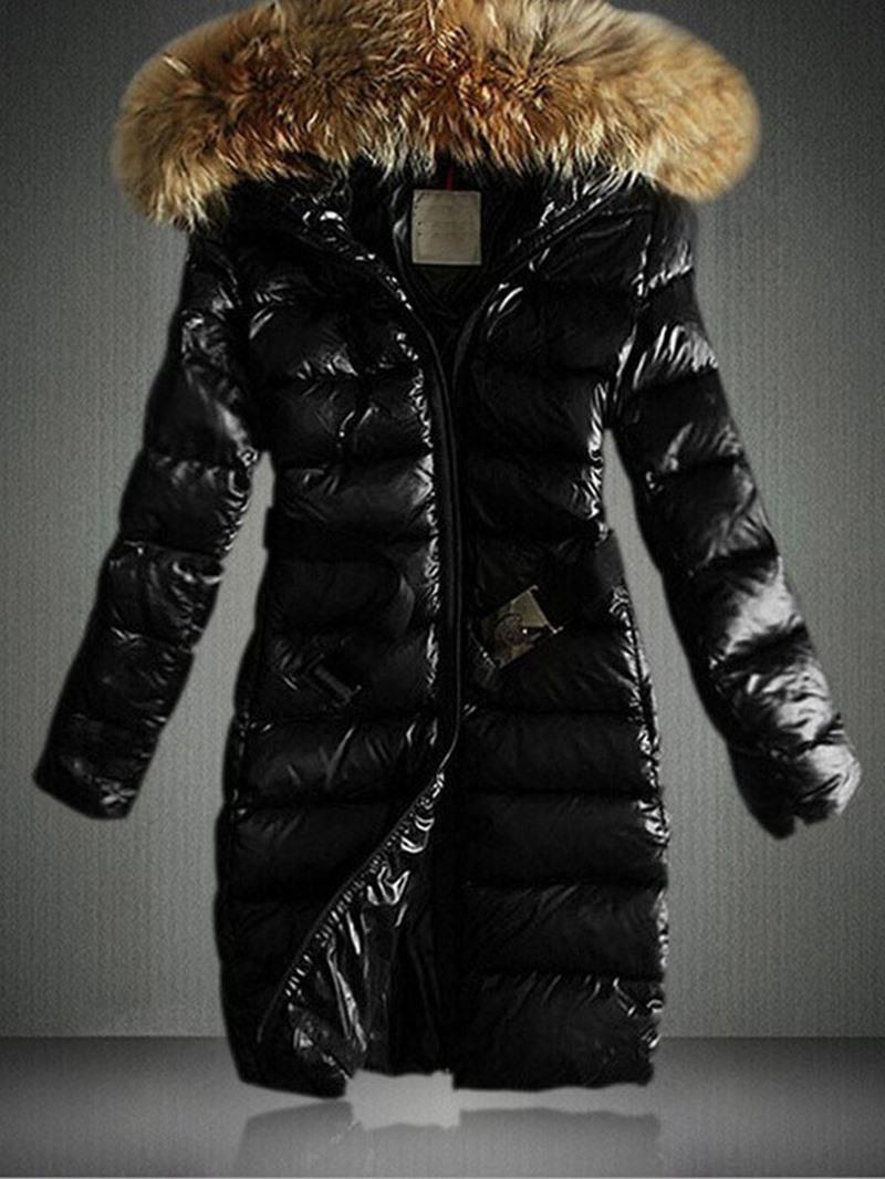 Ericdress Plain Fur Collar Zipper Long Sleeves Coat