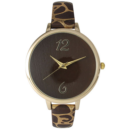 Olivia Pratt Womens Cheetah Print Brown Petite Leather Watch 26356Brown, One Size , No Color Family