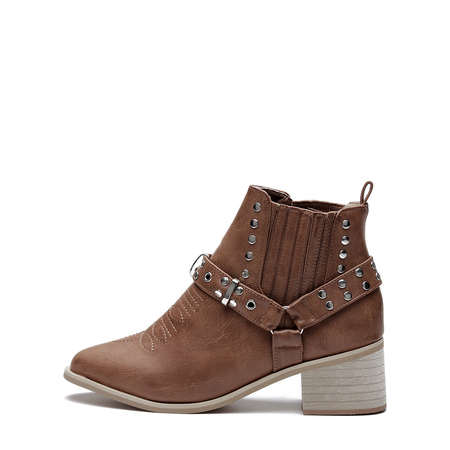Yoins Light Brown Studded Block Heel Ankle Boots