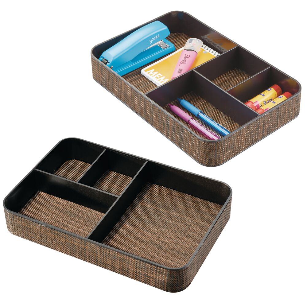 4 Section Plastic Home Office Drawer Organizer in Bronze, 8
