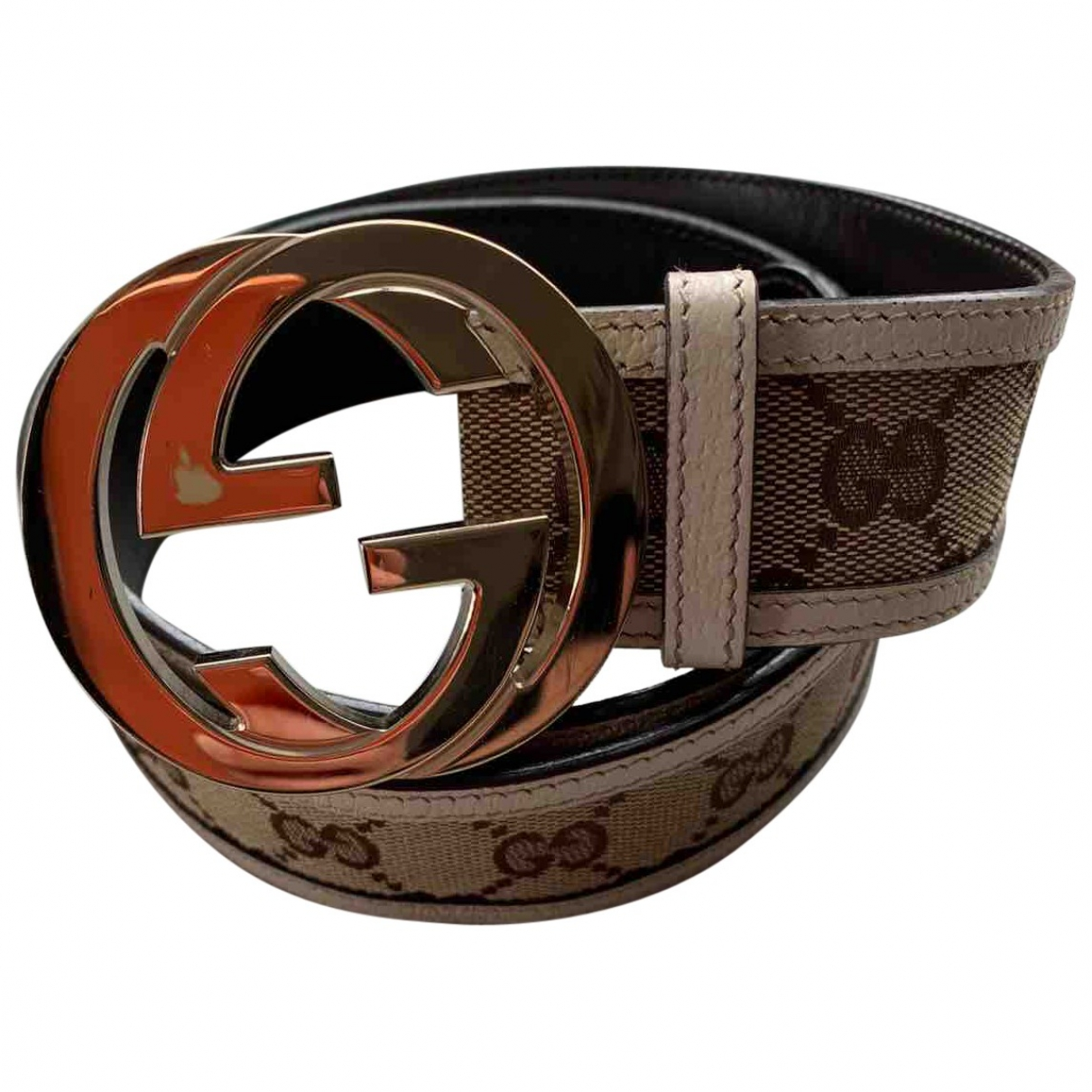 Gucci Interlocking Buckle Beige Cloth belt for Women 85 cm