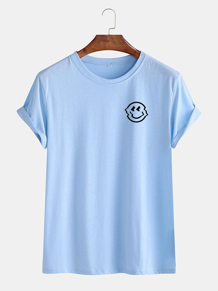 Mens Fun Deformed Smile Print Breathable T-shirt
