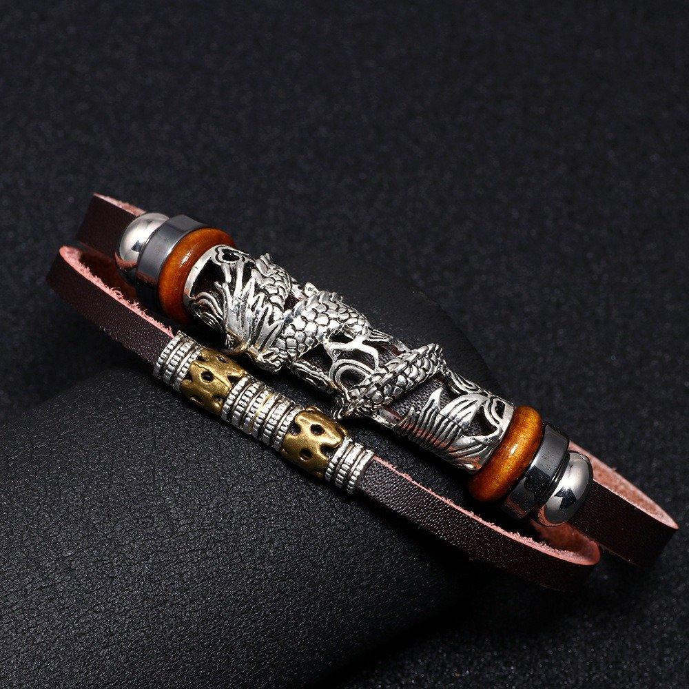 Ethnic Dragon Men Bracelet Stainless Steel Accessories Bracelet Leather Retro Bracelet