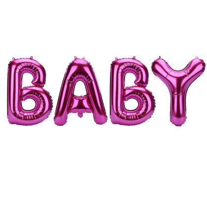 Pink Mylar Balloon Letter Banner BABY 14