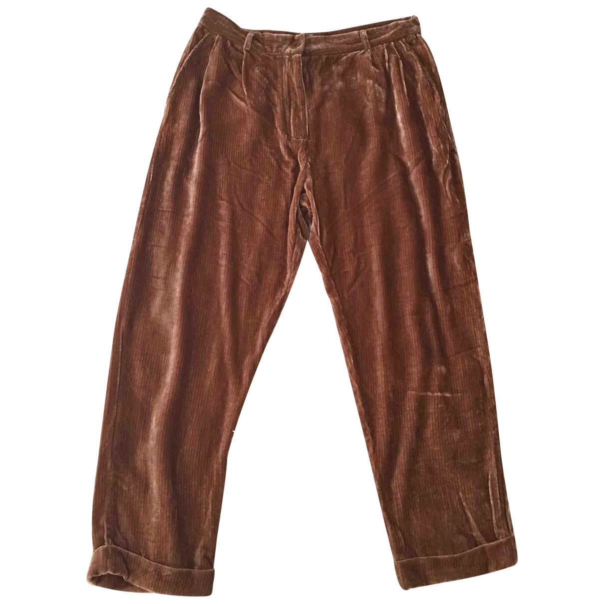 Mes Demoiselles ... \N Brown Velvet Trousers for Women 38 FR