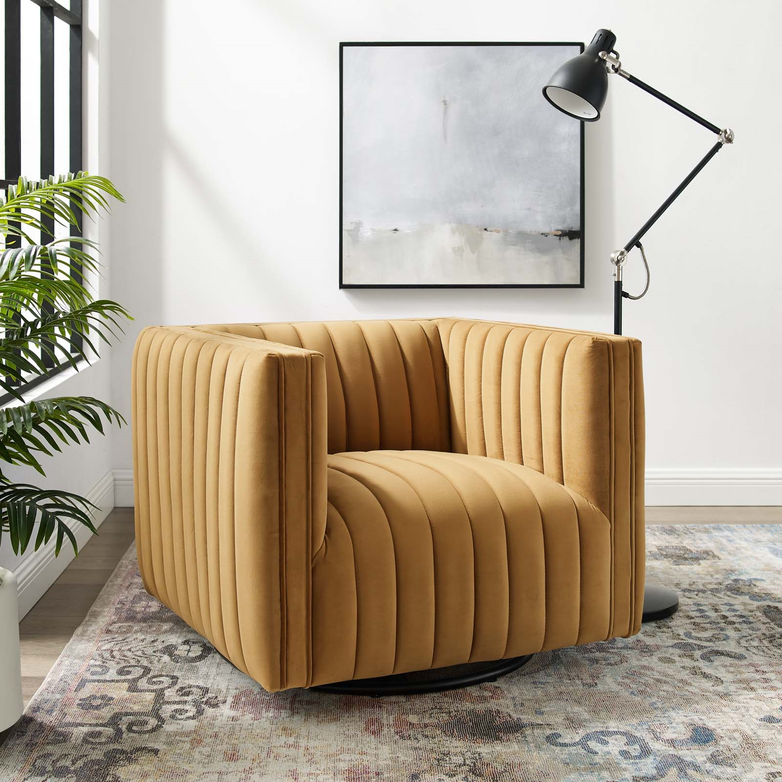 Conjure Channel Tufted Performance Velvet Swivel Armchair in Cognac