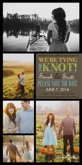 Save the Date Flat Glossy Photo Paper Cards with Envelopes, 4x8, Card & Stationery -We're Tying the Knot!
