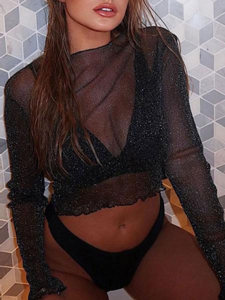 Milanoo Women Crop Top Black Tulle Sheer Ruffles Scoop Neck Long Sleeves Casual Tops