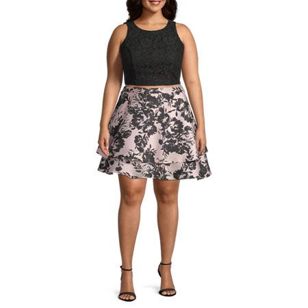 City Triangle-Juniors Plus Sleeveless Dress Set, 19 , Pink