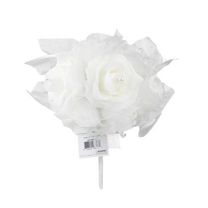 Bouquet de mariage Tenant des fleurs 7 têtes Mousse blanche Rose Pearl Ribbon Lace - LivingBasics ™