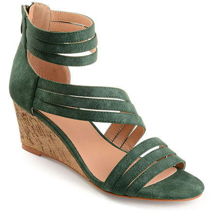 Journee Collection Womens Loki Zip Open Toe Wedge Heel Pumps, 10 Medium, Green