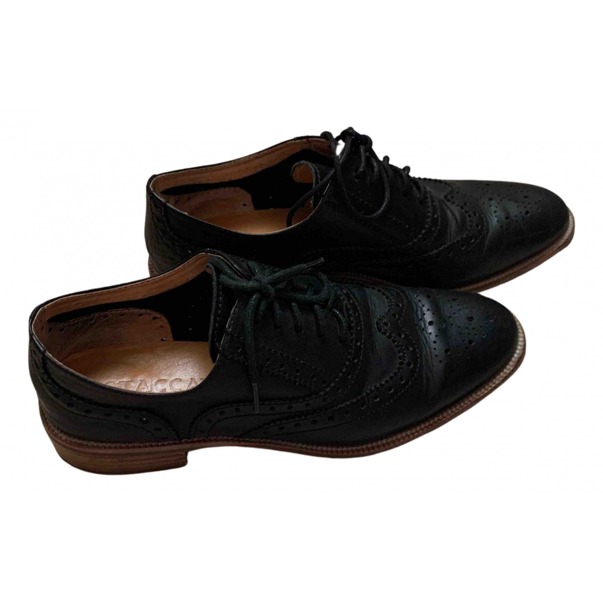 Non Signé / Unsigned \N Black Leather Lace ups for Women 37 EU