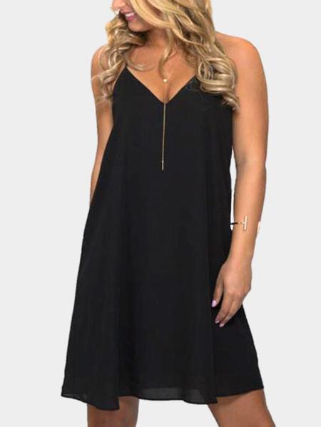 Yoins Black Sexy V Neck & Sleeveless Backless Mini Dress