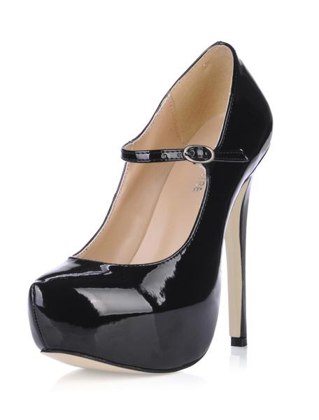 Milanoo Women Platform Shoes Round Toe Mary Jane Pumps in Fuchsia
