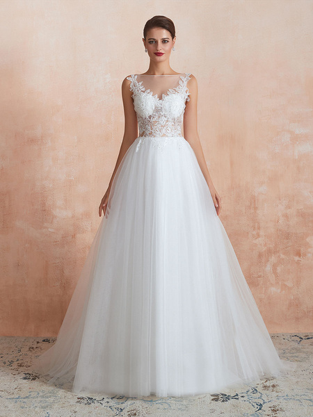 Milanoo Wedding Dress 2020 A Line Sleeveless Lace Floor Length Tulle Bridal Gowns With Train