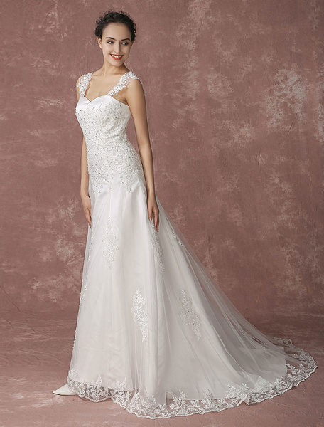 Milanoo Sweetheart Wedding Dress Lace Chapel Train Bridal Gown Beading Backless A-line Bridal Dress