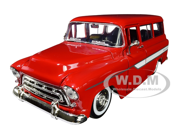 1957 Chevrolet Suburban Red with White Stripes and Extra Wheels