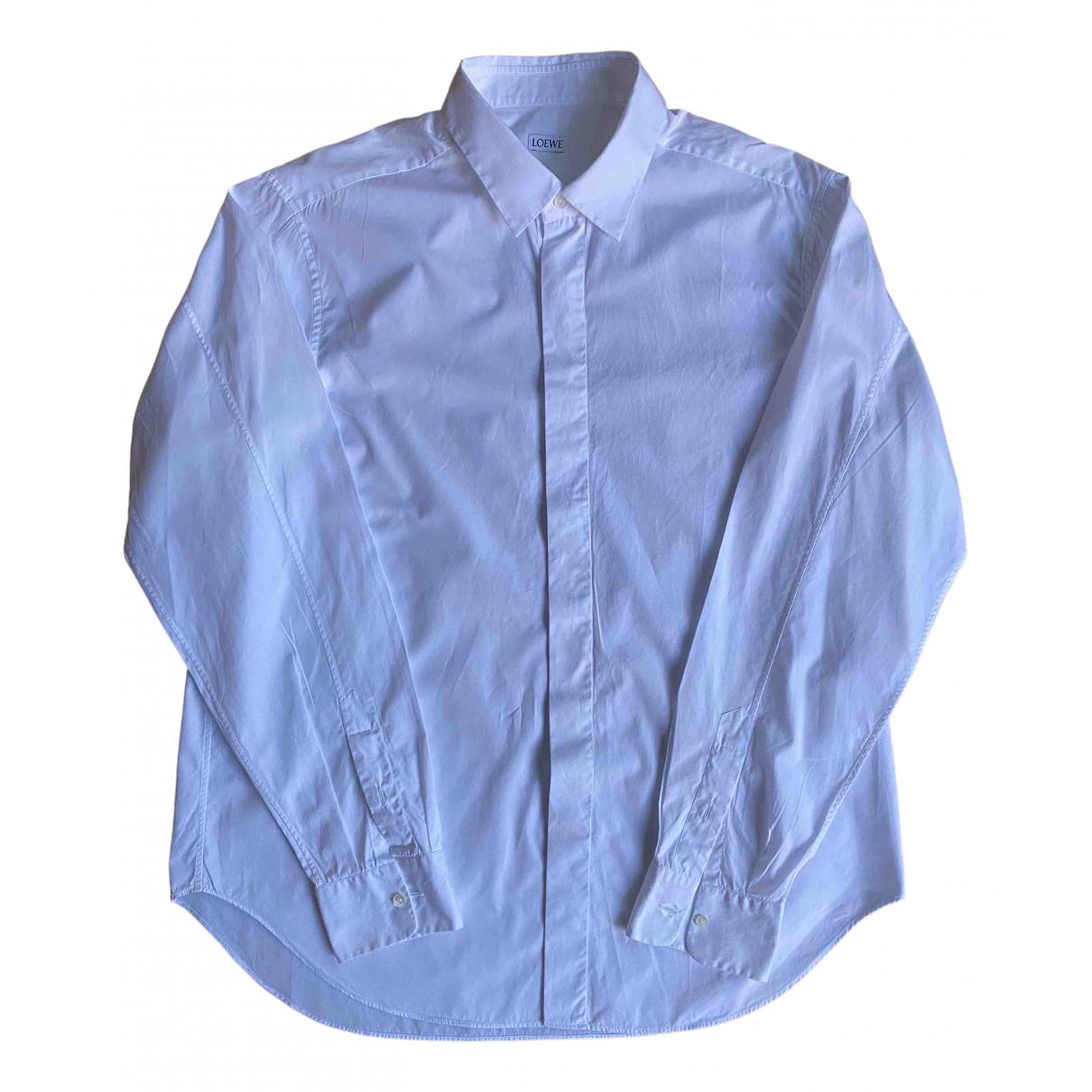 Loewe \N White Cotton Shirts for Men 43 EU (tour de cou / collar)