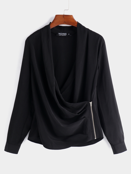 Yoins Fashion Black Zip Design Plain Crossed Collar Long Sleeves Blouses