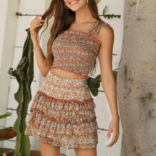 Frill Trim Shirred Ditsy Floral Cami Top & Layered Skirt Set