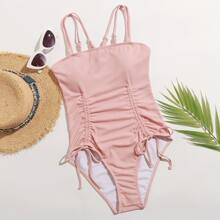 Double Strap Drawstring One Piece Swimsuit