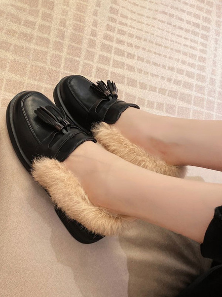 Milanoo Women Loafers White Round Toe Casual Shoes Artificial Short Plush Tassels Women\'s Shoes