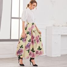 Pearl Beaded Floral Embroidered Peter-pan-collar Blouse and Skirt Set