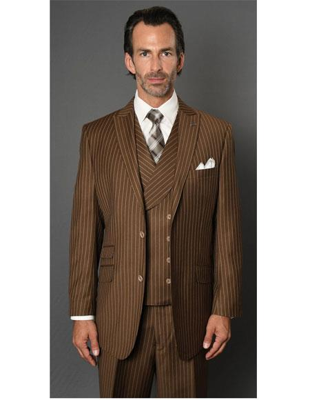 Mens Striped Pattern Bronze Single Breasted Two Button Suit