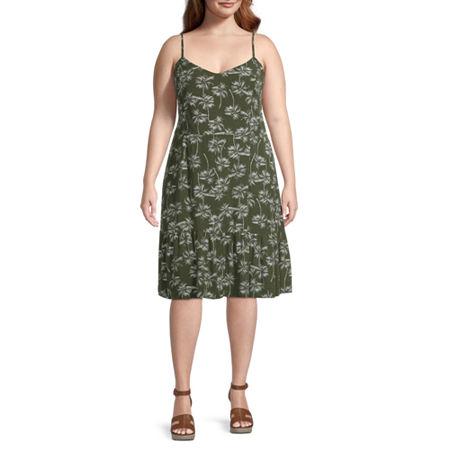a.n.a-Plus Women Sleeveless Fit & Flare Dress, 2x , Green