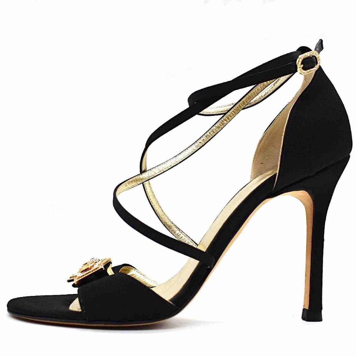 Versace \N Black Leather Sandals for Women 36.5 EU