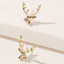 Rhinestone Antlers Stud Earrings
