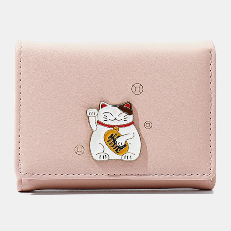 Women 8 Card Slots Cat Pattern Wallet