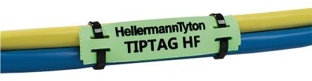 HellermannTyton TIPTAG Mounting clamp Cable Marker, Pre-printed TIPTAG HF Green