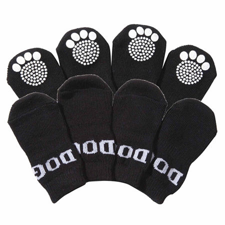 The Pet Life Pet Socks W/ Rubberized Soles, One Size , Black